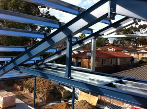 Roof beams made from galvanised steel