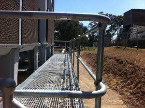Steel handrails and walkway
