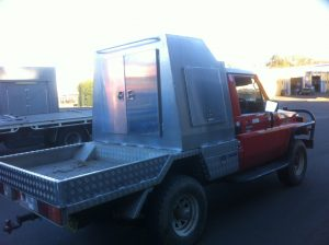 Checker plate steel ute tray and custom toolbox