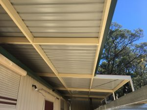 Steel framed awning in the Blue Mountains Penrith Area